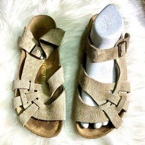 Birkenstock Pisa taupe Leather Suede sandal Sz 9